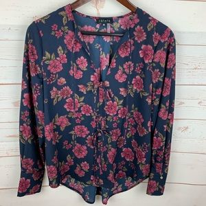 1.State | Navy Pink Floral Tie Front Career Blouse